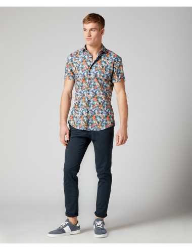 Slim Fit Printed Compact-Cotton Short Sleeve Shirt