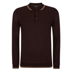 Remus Uomo Burgundy Spec Knit L/S Polo