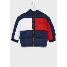 COLOUR-BLOCKED HOODED DOWN JACKET