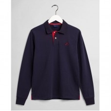 GANT Contrast Collar Long Sleeve Piqué Polo Shirt