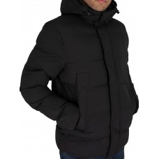 PADDED HOODED STRETCH BOMBER JACKET