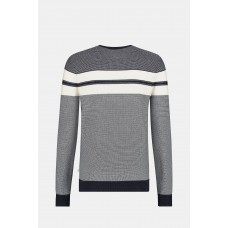 Colourblock Structured Crew Neck Sweater