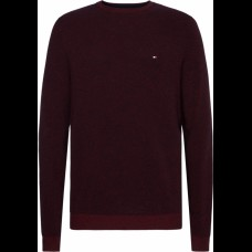 COTTON CREW NECK JUMPER (WINE)