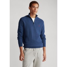 Cotton Mesh Quarter-Zip Jumper