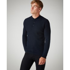 Slim Fit Merino Wool-Blend Long Sleeve Polo Shirt